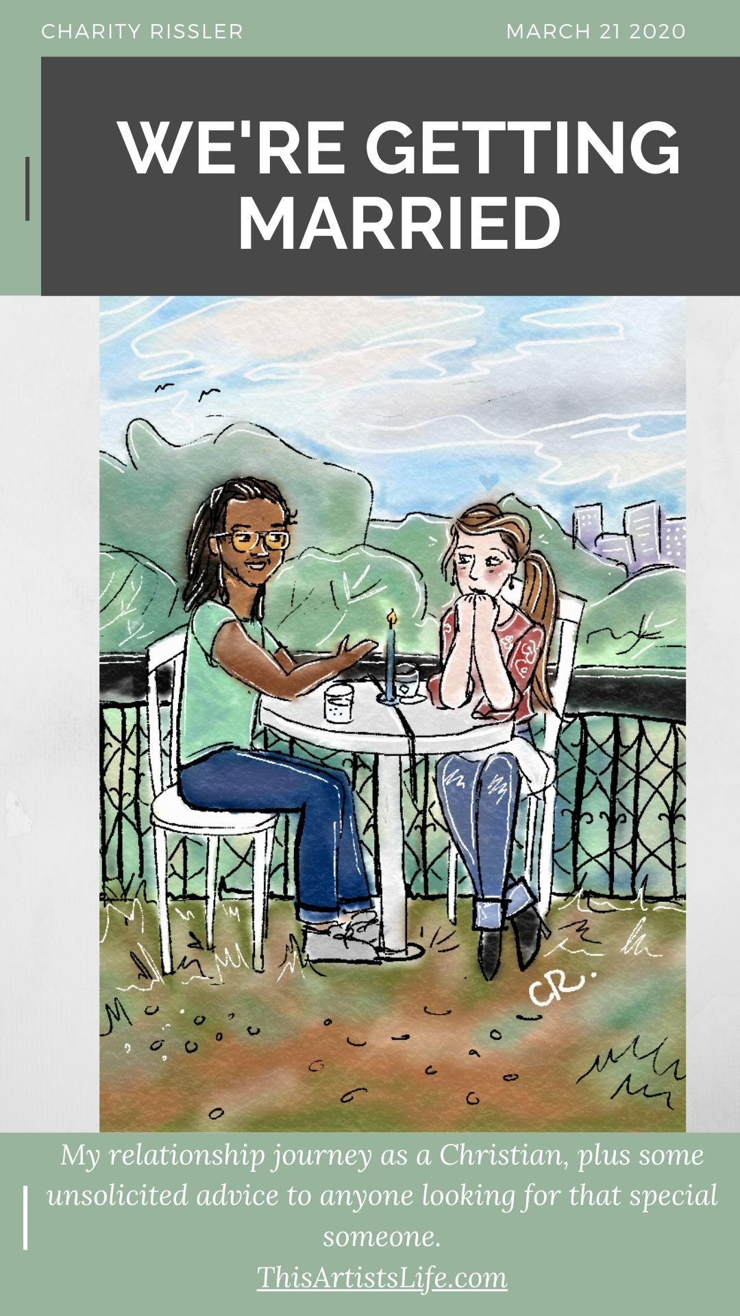 Illustration of Charity Rissler and Matthew Wottrich on their first date
