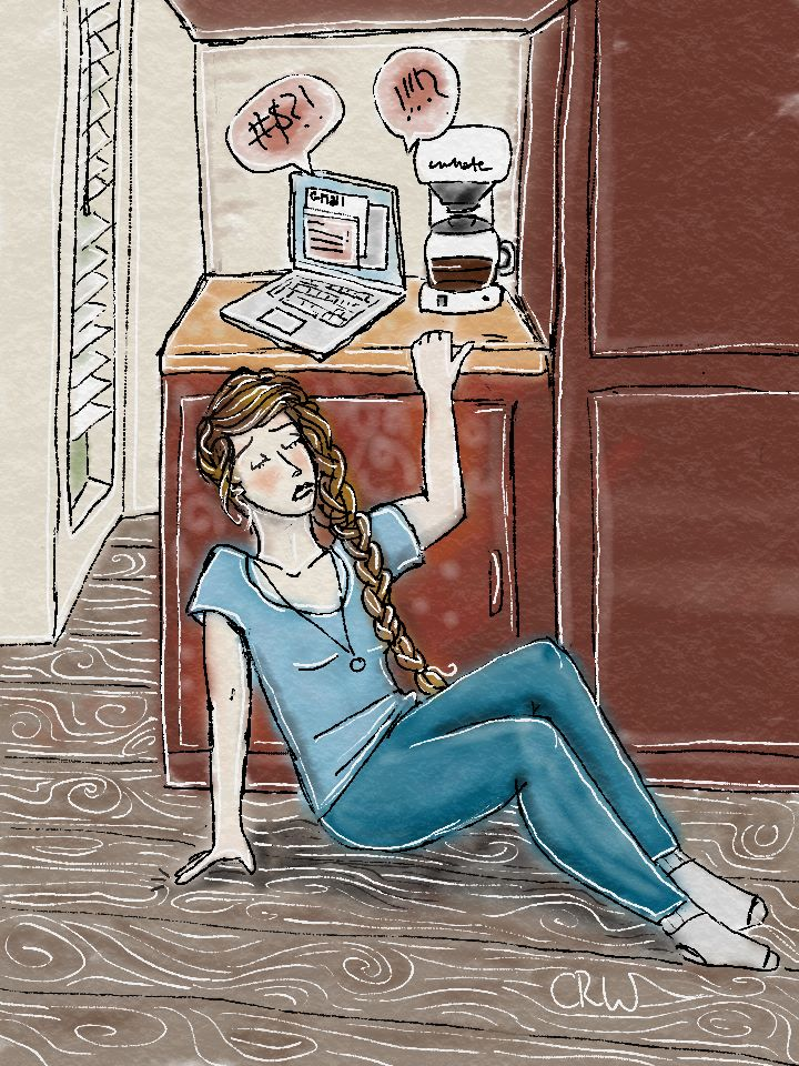 Illustrated picture by Charity Wottrich depicting a time that she had a panic attack after some particularly hard pushback in light of her upcoming book release.